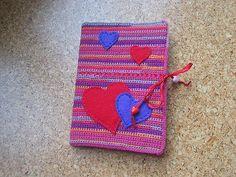 crochet book cover with felt hearts by *esmi*, via Flickr