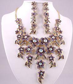 Titanic style Art Nouveau Aurora Borealis Crystal Necklace Set Necklace set