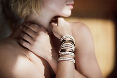 Stretch Handmade Bracelet with Beige and Brown wooden beads and Gold Coated Pyrite