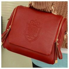 "Red shoulder bag Beautiful red faux leather shoulder bag with side zipper closures, detachable & adjustable shoulder strap, tan top handle, back zipper pocket, measures approx 9.8"" long,  4.3"" wide, 8"" height. Bags Shoulder Bags"