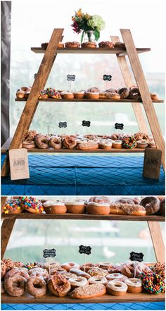 """Tower of donuts, wedding reception desserts, maple bacon donuts, apple fritter donuts, cream filled chocolate donuts, wooden stand, """"glazed and delicious"""" paper bags // Eileen K. Photography"""