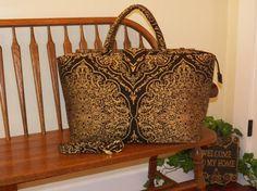 Gold/Mahogany Chenille Damask Weekender Bag #211- My BIG Beautiful Bags-Oversized Bag~Weekender Bag~School Tote~Beach Bag~Diaper Bag~Gym Bag