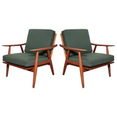 Pair of Teak and Green GE-270 Lounge chairs by Hans J. Wegner | From a unique collection of antique and modern armchairs at https://www.1stdibs.com/furniture/seating/armchairs/