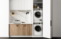 40 Small Laundry Room Ideas and Designs 2018 Laundry room decor Small laundry room organization Laundry closet ideas Laundry room storage Stackable washer dryer laundry room Small laundry room makeover A Budget Sink Load Clothes Laundry Cupboard, Laundry Closet, Small Laundry Rooms, Laundry Room Organization, Laundry In Bathroom, Compact Laundry, Laundry Nook, Bathroom Storage, Laundry In Kitchen