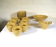 Boonton Ware Mid Century Yellow Dishes by EclecticVintageHome #MidCentury #EclecticVintageHome