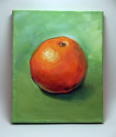 Original Acrylic Painting artwork on the 8W X 10H canvas. Fruits Painting - Orange Copyright ©2013 - 2015 Kai Liu. All Rights Reserved. I retain
