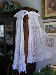 Knit these lace baptismal gowns for my grandchildren by combining many different lace designs contained in old books such as Heirloom Knitting. A wonderful book for any lover of lace knitting. Elsa K Black