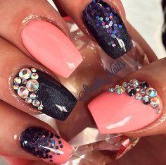 Pink and navy nails