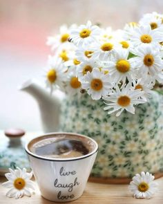 Daisy and Roses Coffee And Books, I Love Coffee, Coffee Art, My Coffee, Coffee Cups, Good Morning Coffee, Coffee Break, Gd Morning, Café Chocolate