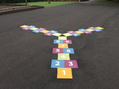 3 Way Hopscotch #playground #markings #wildzebra #creative #outdoor #play #panoramic #blue #sky #primary #school #holidays #traditional #games #back #to #school