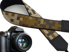 Camera Strap camouflage. Brown, beige, green, grey DSLR / SLR Camera Strap. Men's accessories. 00291