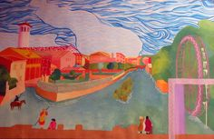 An impression of Treviso by a student of Prof. Fabio Sandrini at L. Coletti Middle School in Treviso, one of 95 communities in the Sister City twinning with Sarasota and Treviso Province in Italy. The art was displayed at the Hands of Heritage Fest at Robarts Arena in Sarasota in 2003