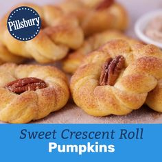 The cutest side bread you'll ever serve at Thanksgiving dinner (or any fall dinner) is here, and it's super easy. (Like, five-ingredient easy.) In a few quick steps, Pillsbury crescent dough gets tran Crescent Roll Recipes, Crescent Rolls, Crescent Dough, Thanksgiving Recipes, Fall Recipes, Holiday Recipes, Easy Desserts, Delicious Desserts, Yummy Food