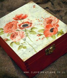 Elegante rojo flores caja de té madera carrito de té, caja de la galleta, regalo del día de la madre perfecta de iLoveCreations en Etsy https://www.etsy.com/es/listing/180811916/elegante-rojo-flores-caja-de-te-madera