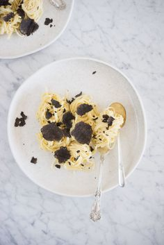 Simple pasta dish - fresh home made spaghetti, easy white wine sauce, and shaved truffles