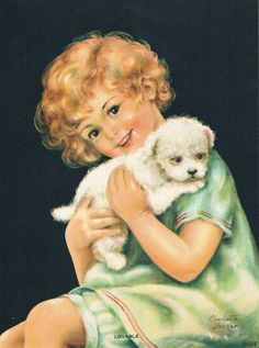 Vintage Charlotte Becker toddler and puppy print.