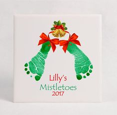 Holiday Baby FootprintCeramic Tile Using Your Child's