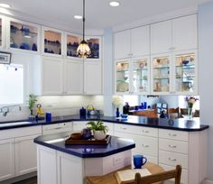 Very nice, love this. blue kitchen countertops   Cooking in Blue: 10 Inspiring Kitchens Styled in Blue