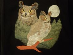 Great Horned Owl on a jacket Great Horned Owl, Owl Art, Owls, Machine Embroidery, Christmas Ornaments, Jacket, Holiday Decor, Christmas Jewelry, Owl