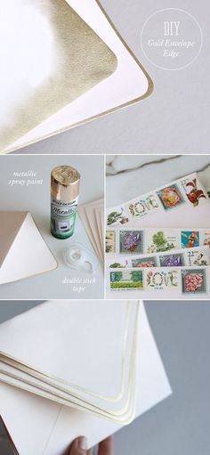 gold-edged envelopes // really sweet idea for d.i.y. holiday cards!