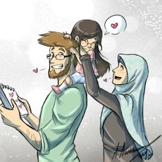 the 3 of us n__n by madimar on deviantART Cute Muslim Couples, Muslim Girls, Cute Couples, Muslim Women, Islam Marriage, Islamic Cartoon, Girly M, Image Citation, Anime Muslim