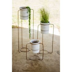 Kalalou Copper Finish Metal Stands With White Wash Pots - Set Of 3