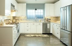 Ikea Kitchen (Little House Well Done) Beautiful Kitchen Designs, Modern Kitchen Design, Beautiful Kitchens, Ikea U Shaped Kitchen, Ikea Kitchen, Open Plan Kitchen Dining, Kitchen Layout, Kitchen Ideas, Kitchen Diner Extension