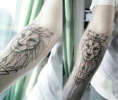 Geometric Lion Tattoo / Ink. Sacred geometry. Forearm tattoo. December 22nd 2015 Dubai.