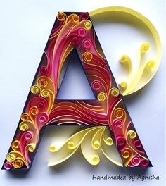 This is my first attempt with 10 mm paper strips. For the first time ever, I have used a tooth pick instead of a quilling tool. The entire design from sketching to quilling took a couple of hours. Quilling Jewelry, Arte Quilling, Quilling Letters, Paper Quilling Patterns, Quilling Paper Craft, Paper Crafts, Paper Art Design, 3d Paper Art, Quilled Paper Art