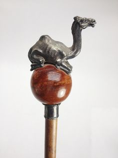 Italian Pewter Sitting Camel Walking Stick