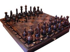 Black and brown obsidian chess set  board game  by GalleriaCentral