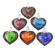 $3.99 - Heart Shaped Glass Pendant With Floating Flower Inlay- Random Assortment of Colors