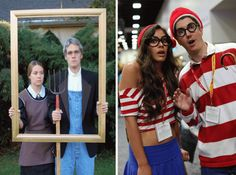 DIY Halloween Costumes: two ideas for couples, American Gothic and Where's Waldo? #halloween #halloweencostume #diycostume #diy