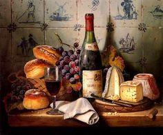 fina ceia vinho pães uvas queijos pintor campbell tela repro