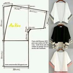 ideas for sewing patterns kimono patrones Fashion Sewing, Kimono Fashion, Diy Fashion, Ideias Fashion, Fashion Women, Kimono Diy, Motif Kimono, Kimono Pattern Free, Cardigan Pattern