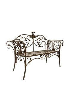 Create a lovely backyard oasis with this eye-catching essential, a charming addition to your spring garden. Restaurant Tables And Chairs, Garden Table And Chairs, Patio Bench, Table And Chair Sets, Backyard Patio, Wrought Iron Bench, Wrought Iron Decor, Outdoor Stools, Iron Furniture