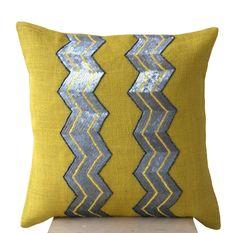 Items similar to Yellow burlap pillows - Grey sequin chevron cushion -Decorative cushion covers- Throw pillow Gift- Yellow gray pillow- Sofa pillow on Etsy Chevron Throw Pillows, Grey Pillows, Burlap Pillows, Sofa Pillows, Yellow Cushion Covers, Yellow Cushions, Decorative Pillow Covers, Throw Pillow Covers, Decorative Throw Pillows