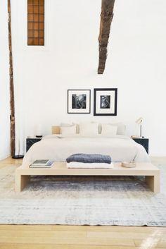 Beautiful minimalistic bedroom in neutral tones