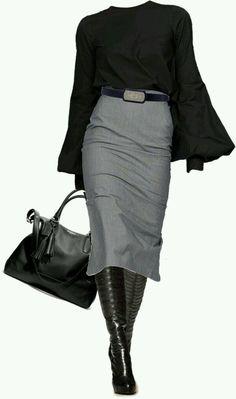 Bleistiftrock, schwarze Stiefeletten Woman Skirts woman wearing skirt and boots Mode Chic, Mode Style, Fashion Mode, Womens Fashion, Fashion Trends, Trendy Fashion, Women's Office Fashion, Style Fashion, Nautical Fashion