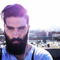 Chris John Millington - full thick dark beard and mustache beards bearded man men mens' style bearding selfie photo nice eyes #beardsforever