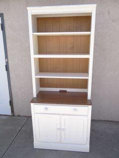 Ethan Allen distressed Cottage collect. dresser hutch book shelf 2 door cabinet