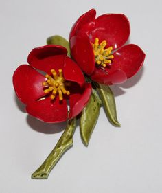 Vintage painted metal red floral brooch by purrfectstitchers, $14.00