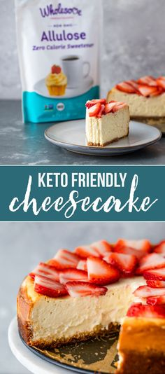 This post is sponsored by Wholesome sweeteners. Low-carb and Keto friendly cheesecake is smooth, creamy and delicious. Ketogenic Desserts, Low Carb Desserts, Easy Desserts, Low Carb Recipes, Delicious Desserts, Dessert Recipes, Keto Snacks, Cookie Recipes, Banting Recipes