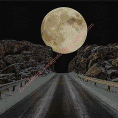 Gráfico a punto de cruz - Luna asomando por la carretera 54 x 54 cm High Road, Monuments, Scenery, Dots
