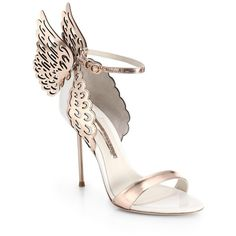 Sophia Webster Evangeline Winged Leather Sandals ($585) ❤ liked on Polyvore featuring shoes, sandals, heels, apparel & accessories, gold, strappy heel sandals, ankle tie sandals, metallic leather sandals, strappy sandals and ankle wrap sandals