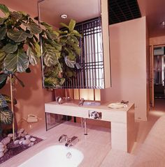 shoproomideas.com wp-content uploads 2016 01 francois-catroux-1975-floating-medicine-chest-art-deco-interior-designer-bathroom-faux-plants-palm-tree-decor-pink-pastel-rose-quartz-modern-powder-room-master-bath-shop-room-ideas-retro-.jpg