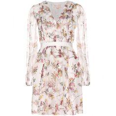 Giambattista Valli Silk-Chiffon Print Dress ($1,429) ❤ liked on Polyvore featuring dresses, vestidos, multicolored, floral printed dress, multi colored dress, multicolored dress, pink print dress and print dress