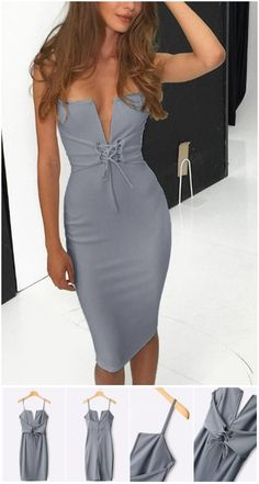 Grey Bodycon Lace-up Front Midi Dress US$19.95