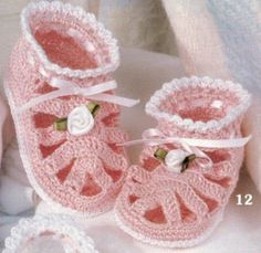 Baby Booties Thread Crochet Patterns Pattern Mary Janes by The Dozen Shoes Book | eBay