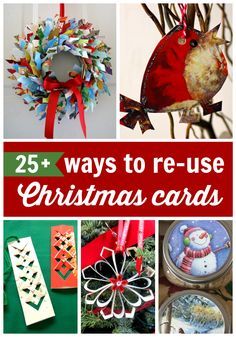 Christmas cards everywhere after the big day - so how can we reuse and recyle Christmas Cards as we are boud to have so many of them. Here are 25 awesome ideas for you all!